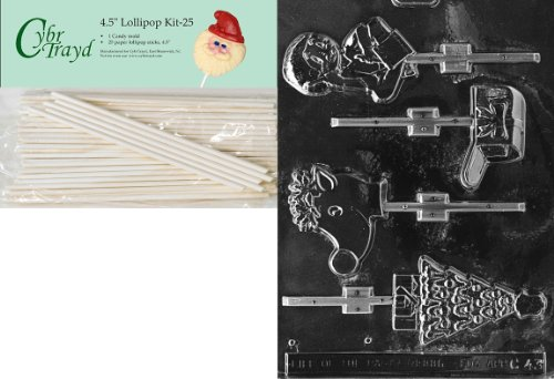 Cybrtrayd 45St25-C043 Assortment with Drummer Lolly Christmas Chocolate Candy Mold with 25 Cybrtrayd 4.5-Inch Lollipop Sticks