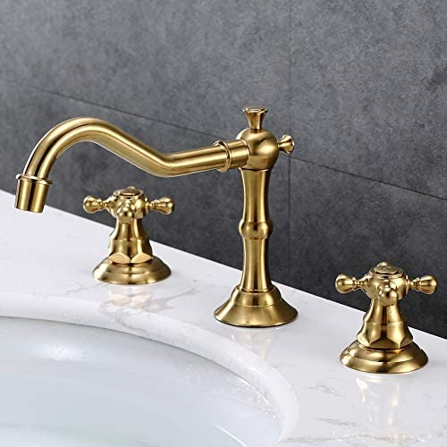 KAIMA 8 Inch Bathroom Faucet Widespread 2 Handle 3 Holes Bathroom Sink Faucet Golden