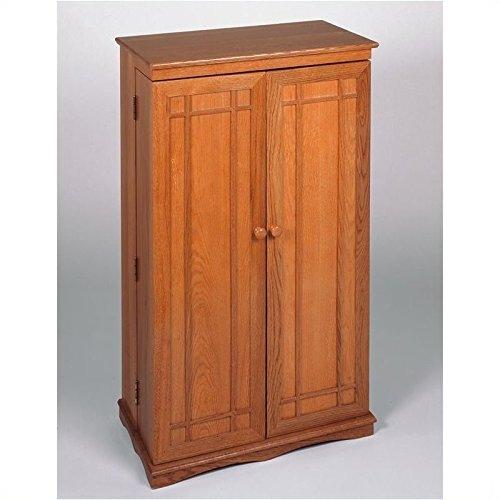Leslie Dame CD-612 Solid Oak Multimedia Storage Cabinet with Classic Mission Style Doors, Oak (Cd Storage Oak)