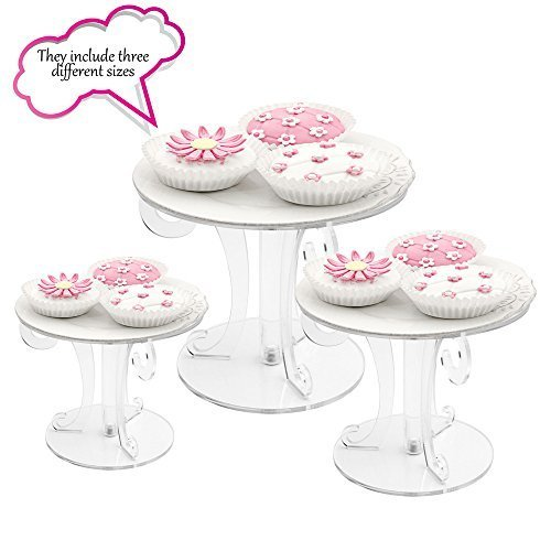 Clear Acrylic Scroll Wedding Cake Stand - Set of 3 Sizes(4 Inch,6 Inch,8 Inch)
