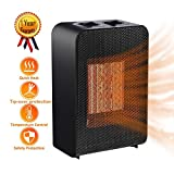 Ceramic Space Heater Electric Indoor Portable for RV, 2s Heat-up 750w~1500 watt, Auto Shut-off for Office/Home Heating/Cooling Fan Desk Heater, with Power-effective Adjustable Thermostat Gift Idea 7