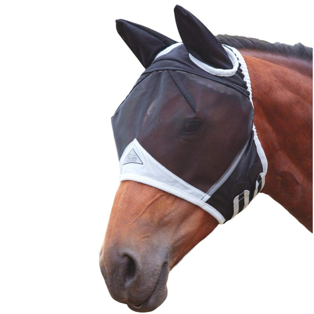 Shires Fine Mesh Fly Mask with Ears, Black, Full by Shires