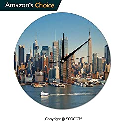 SCOCICI 10 Inch Round Wall Clock New York City Skyline Over River Empire State Building Movement Silent Non-Ticking for Kitchen Study Office Room Decorations