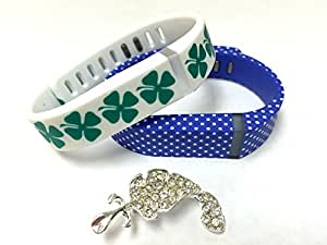 Set Small S 1 White with Green Irish Lucky Clover 1 Blue with White Dots Spots Colors Replacement Bands With Clasps for Fitbit Flex St. Patrics Day Good Luck Clovers /No tracker/ Wireless Activity Bracelet Sport Wristband Fit Bit Flex Bracelet Sport Arm Band Armband + Nice Crystals Feather Brooch