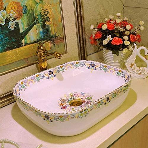 樹脂洗面台天然石楕円形埋め込みバスルーム長方形レトロ洗面台シンク景徳鎮セラミックホテル抗スプラッシュ洗面台