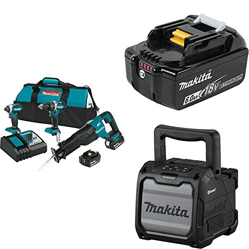 Makita XT328M 4.0 Ah 18V LXT Lithium-Ion Brushless Cordless Combo Kit, 3 Piece  w/ 18V 6.0 Ah Battery & Makita XRM08B 18V LXT / 12V max CXT Lithium-Ion Cordless Bluetooth Job Site Speaker, Tool Only