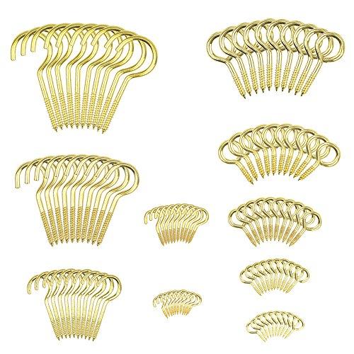 TOVOT 100PCS Brass Plated Ceiling Hooks Screw Hook,Multi Size Screw in Hook Cup Hook Screw Eyes Eye Bolts