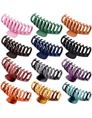 12 PCS Big Hair Claw Clips , Trendcy Colors,Matte Non-slip Material ,Strong Hold Hair For Women And Girls,Suitable For Thin Or Thick Hair,Fashion Hair Accessories,4.3 inch