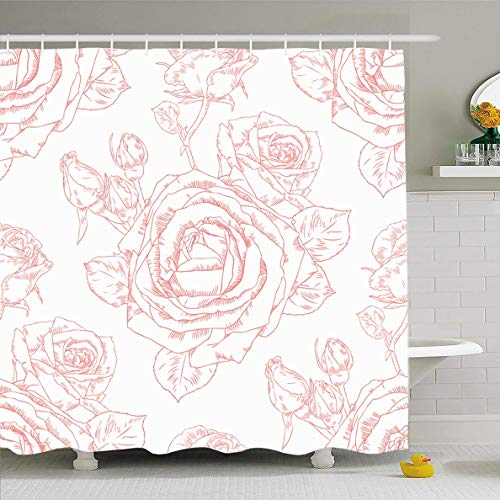 Ahawoso Shower Curtain 60x72 Inches Nature Pattern Contour Drawing Roses Toile Colored Vintage Antique Botany Design Waterproof Polyester Fabric Bathroom Curtains Set with -