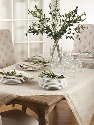 Natural Beige Classic French Lace Border Tablecloth 70'' x 180'' Rectangular by Occasion Gallery