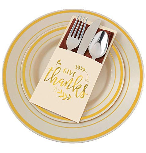 Gold Give Thanks - Thanksgiving Silverware Wraps/Cutlery Holders, 24ct