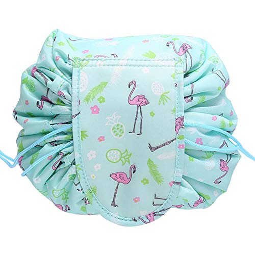 VOCUS Lazy Drawstring Cosmetic Bag Makeup Organizer Pouch Large Capacity Toiletry Travel Bag for Women Girls (B-Green Flamingo)