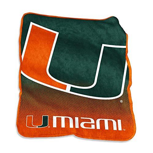 (Logo Brands NCAA Miami Raschel Throw, Multi, One Size )