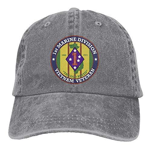 ElephantAN Men Women 1st Marine Division Vietnam Veteran Adjustable Vintage Baseball Caps Washed Cowboy Dyed Denim Hat Unisex (Division Marine Hat)