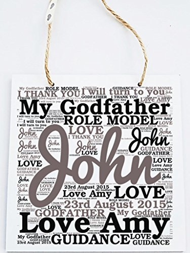 Personalised Godfather Word Art Plaque. Suitable