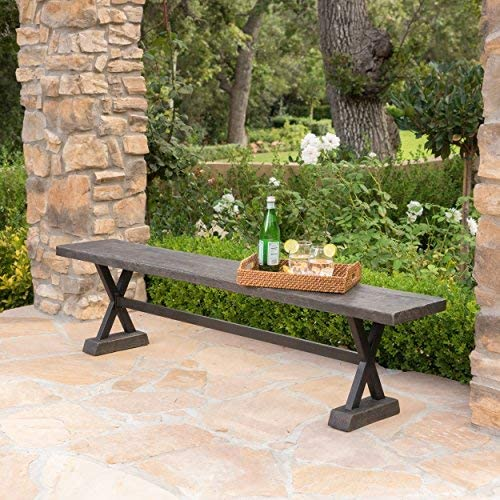 Christopher Knight Home 301179 Catelyn Outdoor Concrete and Steel Dining Bench Brown