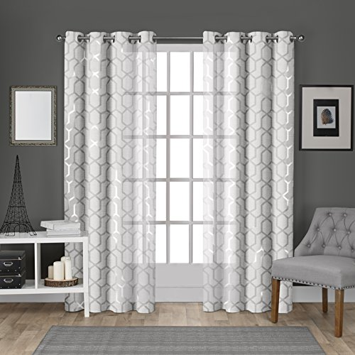 Silver Metallic Print (Exclusive Home Curtains Panza Metallic Printed Geometric Sheer Grommet Top Window Curtain Panel Pair, Winter White, Silver Print, 54x96)