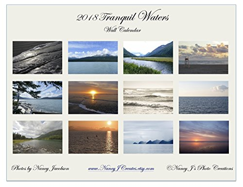 2018 Tranquil Waters Wall Calendar Fine Art Nature Photography New Year Gift for Beach Lover Twelve Monthly 11x8.5