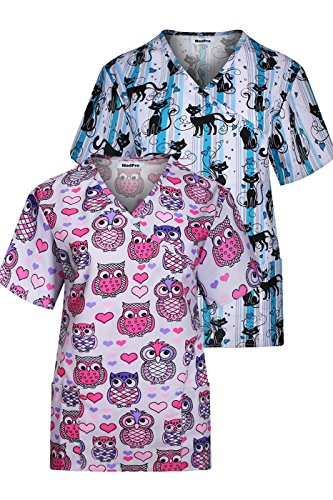 Minty Mint Women's Short Sleeve Tie Back Mock Wrap Printed Medical Scrub Top In Assorted Two Piece Assorted Pack ASTD:Pink,Blue S