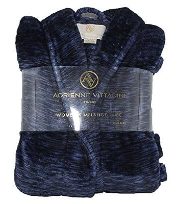 Adrienne Vittadini Women's Soft Textured Melange Bath Robe w Side Seam Pockets | Knee Length