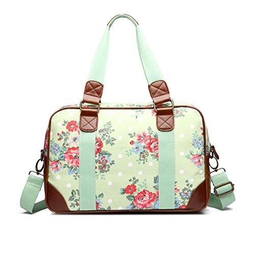 Miss Lulu Chouette Motif Floral en forme de Papillon en toile cirée à pois-Fourniture Scolaire-Sac de voyage week-end - Flower Green