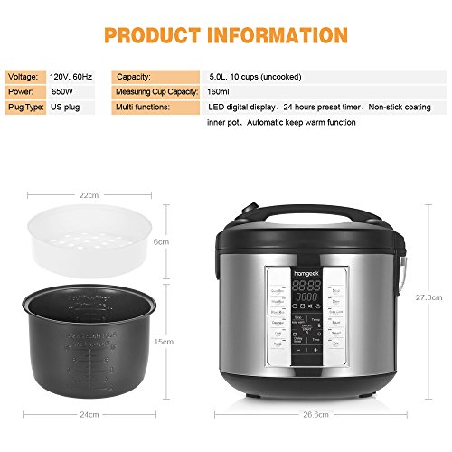 homgeek 650w professional rice cooker essential. Black Bedroom Furniture Sets. Home Design Ideas