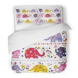 SanChic Duvet Cover Set Pink India Cute Elephants Colorful Kids Children Cartoon Indian Bird Decorative Bedding Set Pillow Sham Twin Size