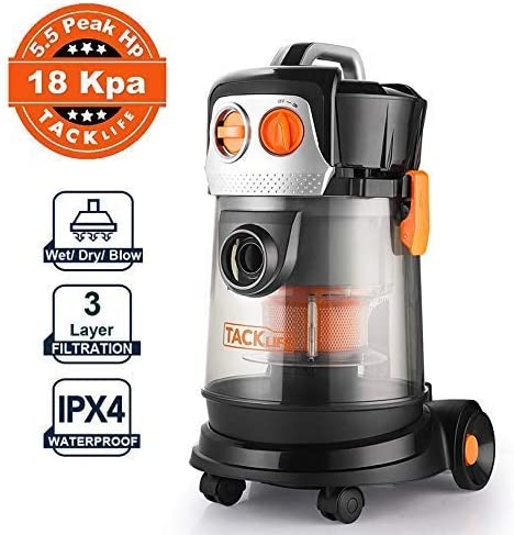 TACKLIFE Wet Dry Vacuum, 5.5 Hp 4Gal Bagless Shop vac, 18Kpa Powerful Suction, 16.4ft Power Cord, Ideal for Home Renovation, Car wash, Workshop Cleanup