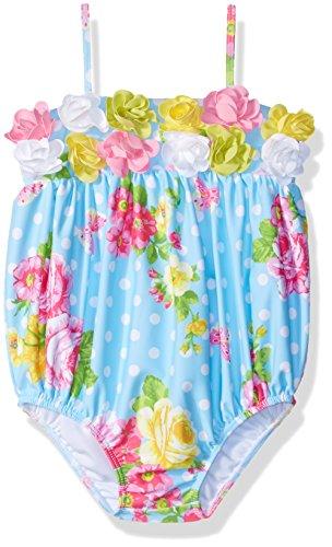 (Kate Mack Baby Girls Garden Roses Bubble Swimsuit, Blue, 18M)