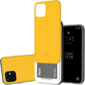 Slider Case for iPhone 11, Heavy Duty Bumper Protection Wallet with Card Storage Slider for Apple iPhone 11 by Design Skin - Yellow