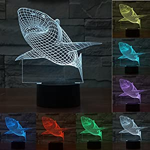 SUPERNIUDB Jaws Great White Shark 3D Illusion LED Night Light 7 Colourful Table Desk Lamp