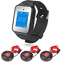 Caregiver Pager - Shanqiu Wireless Watch Pager System Wrist Pager with Call Buttons, Caregiver Alert for Elder, Patient and Disable 1 Home Pager with 3 Call Buttons up to 500 Feet