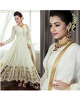 Apnisha Women's Georgette Semi-Stitched Anarkali Suit (APLE_BT_White_White)