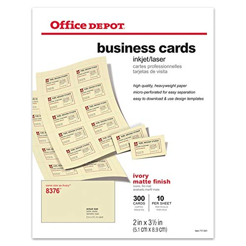 Office Depot(R) Laser/Inkjet Matte Business Cards, 2in. x 3 1/2in., Ivory, Box Of 300