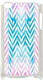Watercolor Splash Chevrons- Case for the Apple Ipod 4th Generation-Hard White Plastic