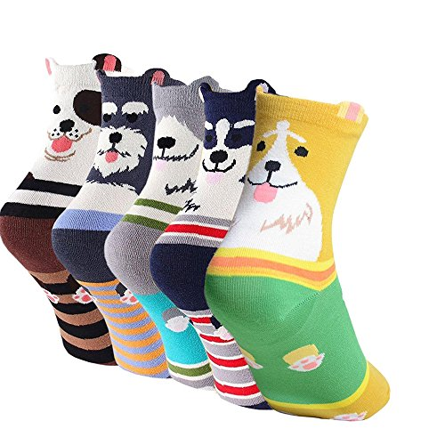 Women's Cute Dog Printed Cotton Crew Socks, Mix Color - 5 Pair Stripes, US Women's Shoe Size 5-9 (Mix Terrier Puppy)