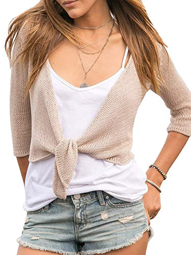 (Tutorutor Womens Tie Knot Sheer Shrug Sweater Lightweight 3/4 Sleeve Cropped Bolero Cardigan Khaki)