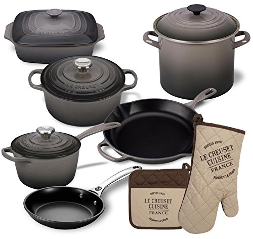 Le Creuset 12 Piece Basic Kitchen Essentials Cookware Bundle (Oyster)