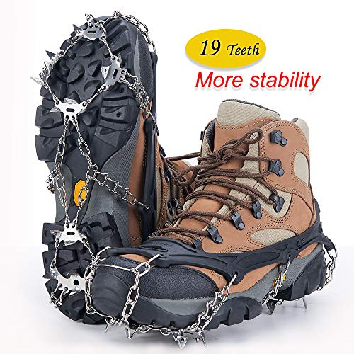 Uelfbaby 19 Spikes Crampons Ice Snow Grips Traction Cleats System Safe Protect for Walking, Jogging, or Hiking on Snow and Ice (Fit L,XL,XXL ()