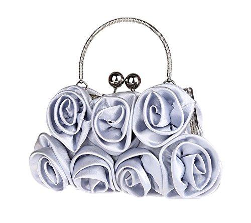 Rouge Embrayage Sac à Main Fille à Blanc Soie Prom Fleurs Soirée Sac Femmes Satchel Vin bandoulière Y6z0xw
