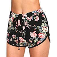 Romwe Women's Casual Floral Shorts Drawstring Waist Dolphin Sport Workout Pants