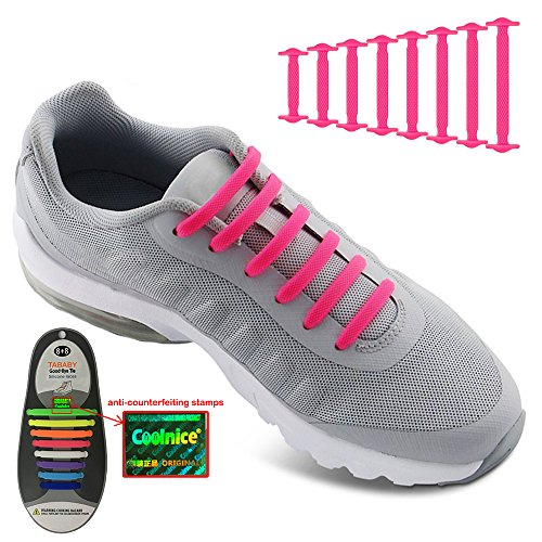 No Tie Shoelaces for Men and Women - Best in Sports Fan Shoelaces – Waterproof Silicon Flat Elastic Athletic Running Shoe Laces with Pink for Sneaker Boots Board Shoes and Casual Shoes (Pink) Dress Sneaker