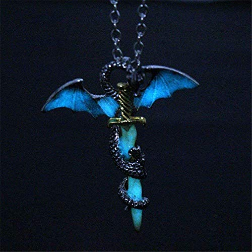 DUANMEINAD Glow in The Dark Dragon Sword Necklace Luminous Pendant Punk Titanium Steel Dragon Sword Wing Pendant Necklaces ()