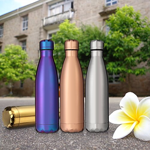 KING DO WAY Insulated Stainless Steel Water Bottle 17oz Vacuum Double Walled Leakproof Metal Water Bottle Keep Hot Cold Drinks Ideal as Hiking Camping Running Gym Outdoors Sports Bottles