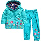 Naladoo Girl Boy Button Flowers Top + Pants Windbreaker Set Waterproof Raincoat