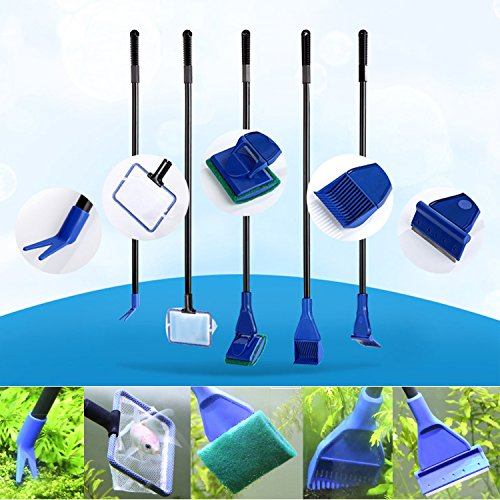 5 in 1 Complete Aquarium Fish Tank Clean Set Fish Net+Rake+Scraper+Fork+Sponge(HG0009)