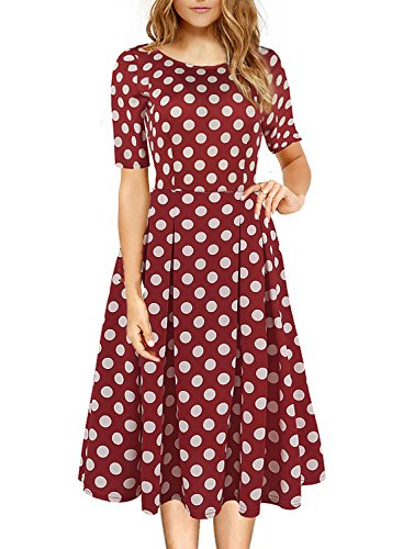 Womens Wedding Dress Casual Formal Party A Line Homecoming 1950 60s Vintage Ladies Dress Solid Half Sleeve Dress Pockets 162 (L, Wine Red Dot)