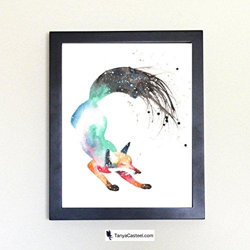 Dancing Fox Spirit Animal Art Print from Watercolor Painting