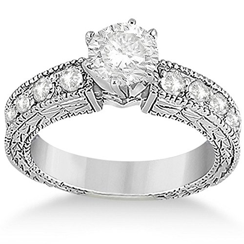 Diamond Antique Engagement Ring Setting (0.70ct Antique Style Diamond Engagement Ring Setting 14k White Gold)