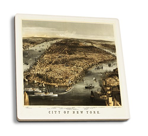 - Lantern Press New York City, New York - (1856) - Panoramic Map (Set of 4 Ceramic Coasters - Cork-Backed, Absorbent)